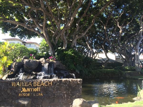 ワイレアビーチマリオットのエントランスの庭