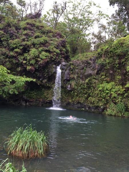 滝壺で泳ぐ人