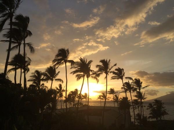 ワイレアビーチマリオットの中庭からの夕焼け