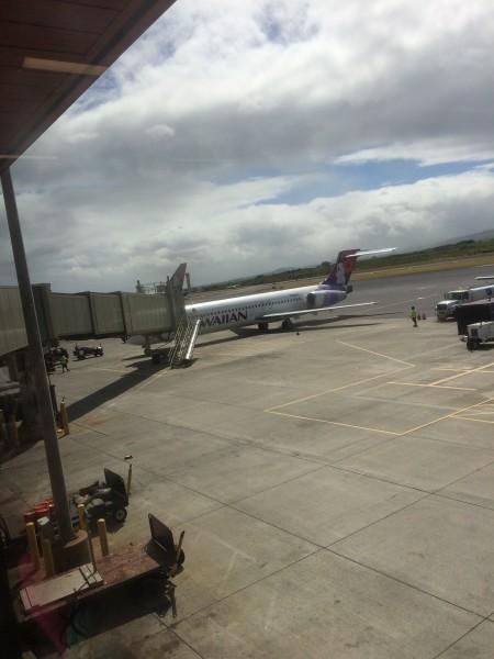 この飛行機でホノルルへ!