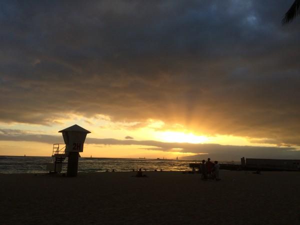 ワイキキビーチのサンセット
