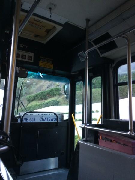 ハリウッドボウルへ向かうバス車内
